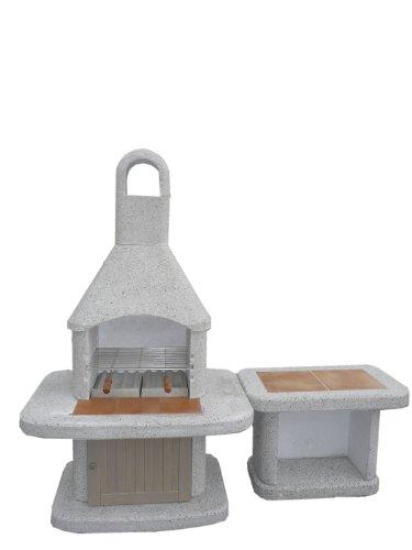 Grillkamin mit Beistelltisch und Holztür Modell Wellfire von Siesta