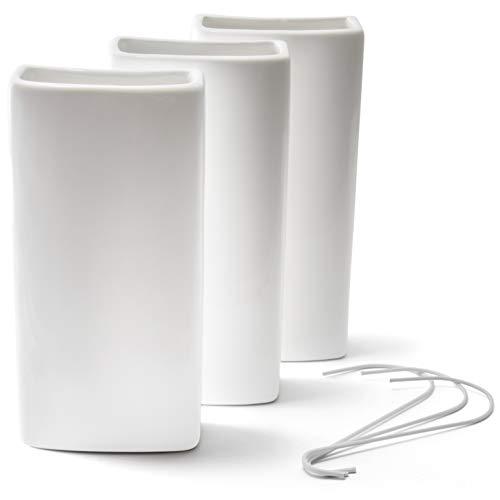 Weißer Keramik Heizungsverdunster mit biegsamen Metallhaken im 3er Set