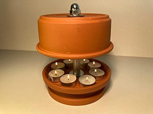 Terrakotta Teelicht-Heizofen inkl. Feuerzeug und Teelichter
