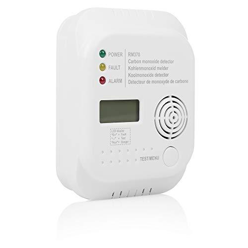 Smartwares RM370 Kohlenmonoxid Melder mit Display und Temperaturanzeige inkl. Batterien, Schrauben und Dübel zur einfachen drahtlosen Montage