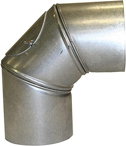 AdoroSol 130mm Ofenrohr mit 90°Grad Bogen, verstellbar mit Tür