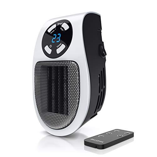 Mini Steckdosen Heizlüfter mit 500 Watt Leistung, Timer, Temperaturregler, Überhitzungsschutz und Fernbedienung