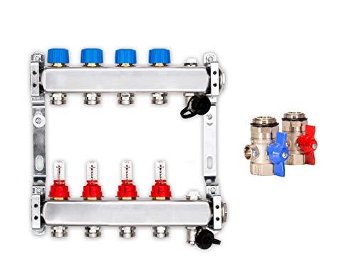 Hochwertiger Edelstahlverteiler für vier Heizkreise inkl. Durchflussmesser
