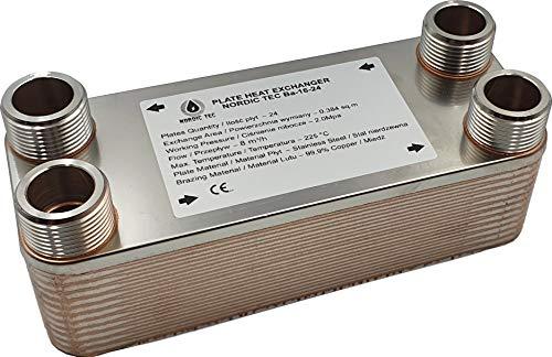 Nordic Edelstahl Wärmetauscher 24 Platten mit 5 Jahren Herstellergarantie