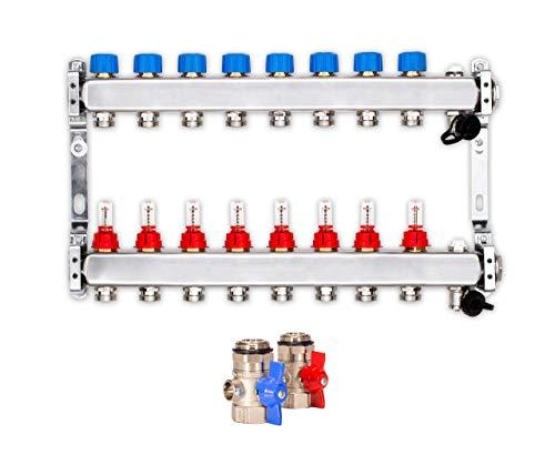 Heizkreisverteiler für die Fußbodenheizung mit 8 Heizkreisen