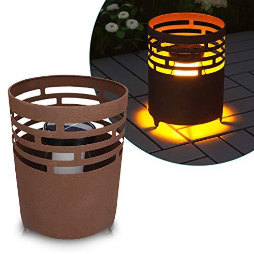 LED-Solar-Feuerstelle mit Rostoptik von Navaris