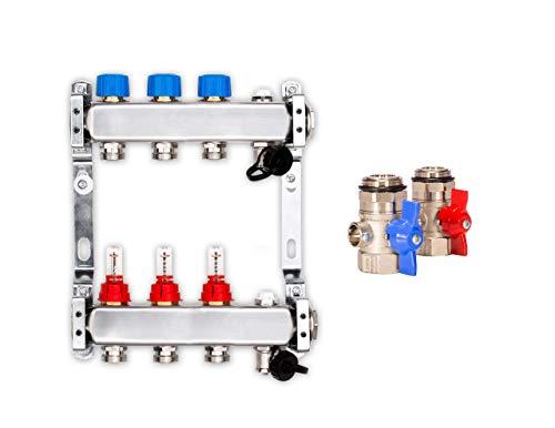 Edelstahl-Verteiler für die Fußbodenheizung mit 3 Heizkreisen