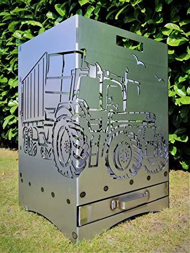 Feuerkorb mit Motiv von Trecker mit Ladewagen