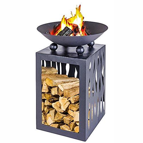 Feuerschale mit Aufbewahrungsfach für Holz 45 cm Durchmesser