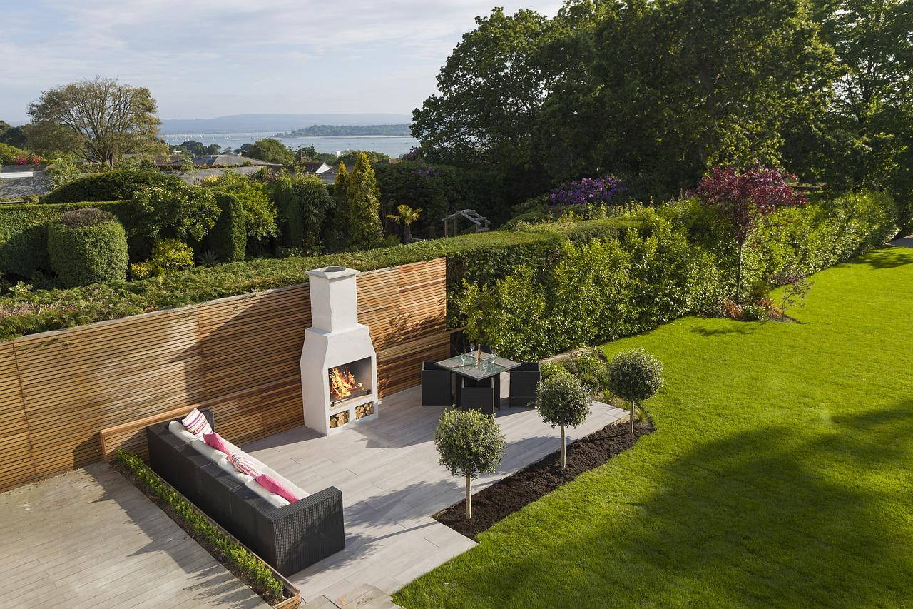 Garten Terrasse Lounge Außenkamin Gartengrill