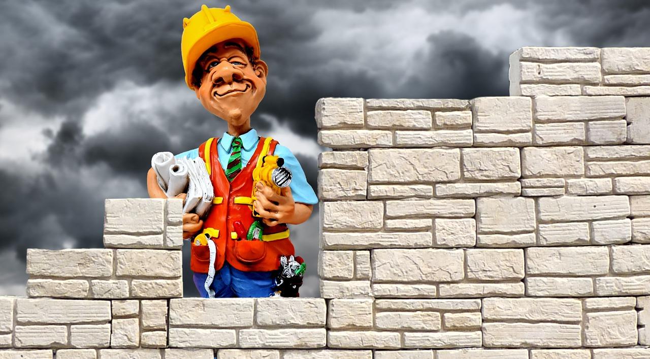 Handwerker Maurer Mauern Wand Steine