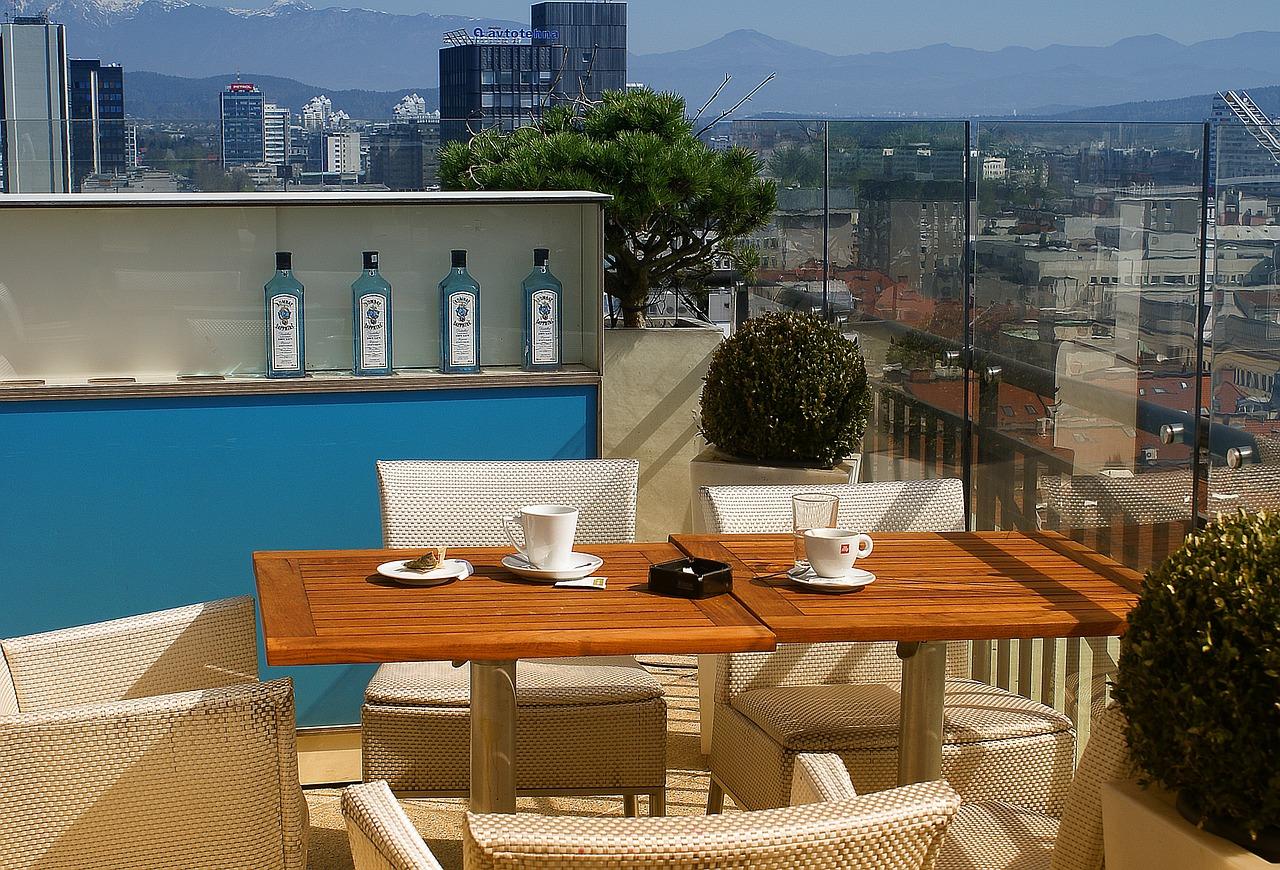 Terrasse Außenbereich Ausblick Kaffee
