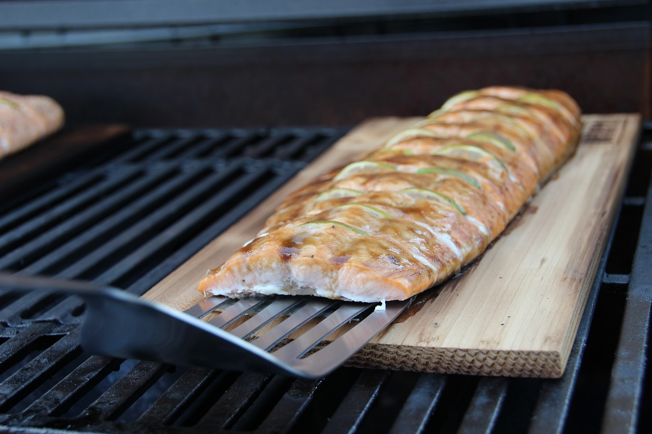 Grill Grillrost Lachs Grillen Holzkohle Glut