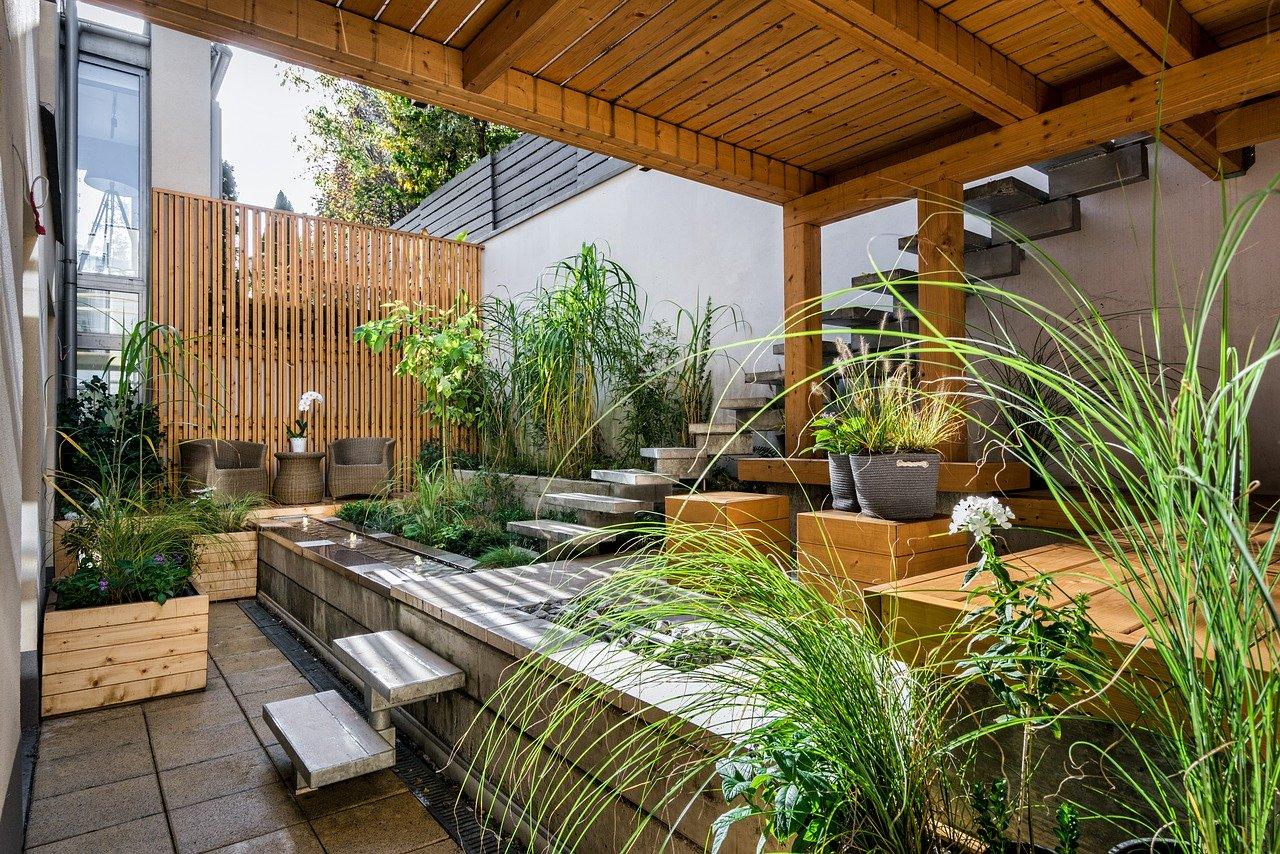 Terrasse Außenbereich Pflanze Lounge Sitzen