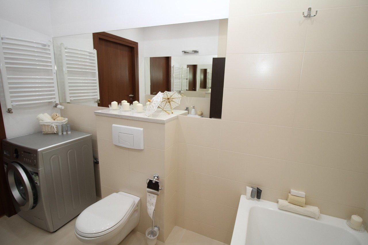 Badezimmer Bad Toilette Waschmaschine Waschbecken