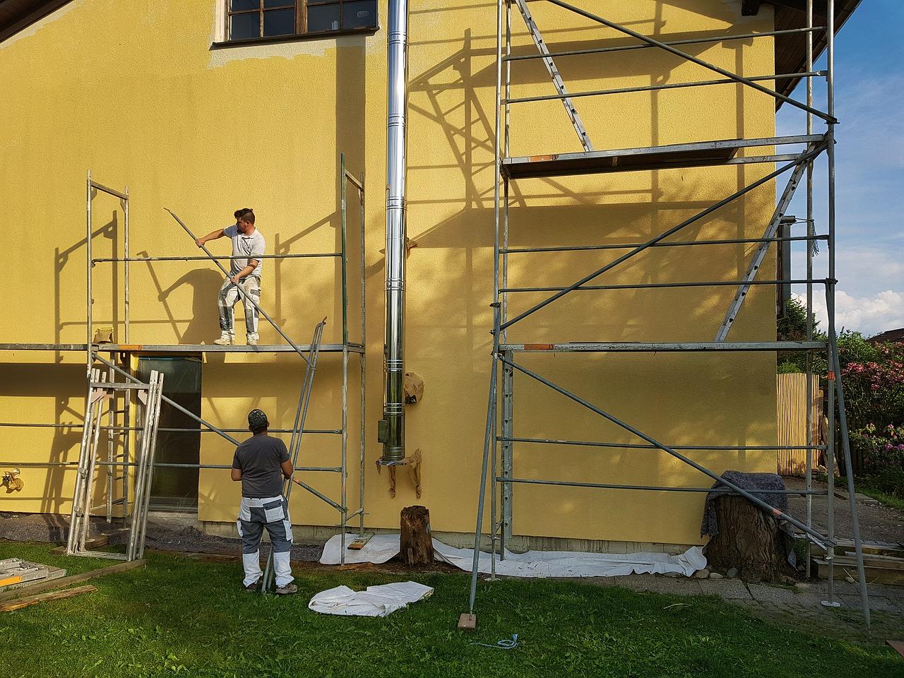 Haus Bauen Renovieren Gerüst Handwerker