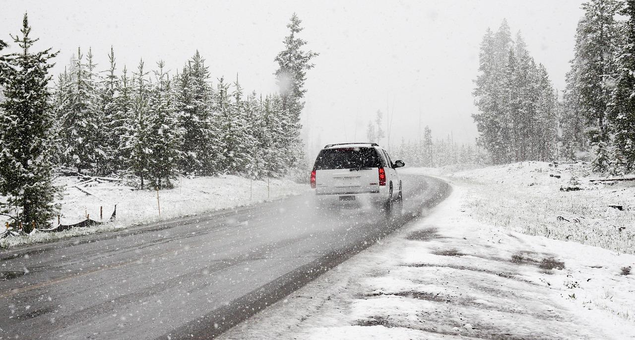 Winter Schnee Straße Verkehr Auto Kälte Eis Frost