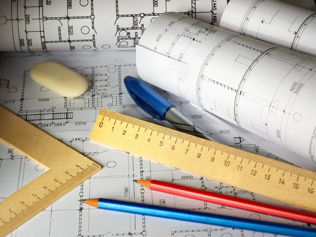 Plan Zeichnung Lineal Stifte